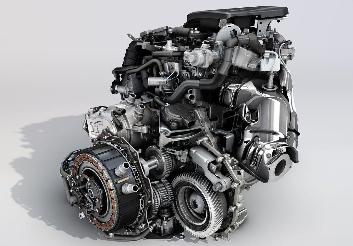 Takto by mohla vyzerať hybridná pohonná jednotka Clia s elektromotorom v prevodovke.